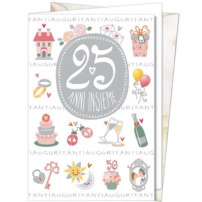 Biglietto augurale anniversario 11 5x17 25 anni cromo for Anniversario matrimonio 25
