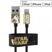 CAVO DATI-RICARICA MFI USB LIGHTNING 120 CM. STAR WARS THE LAST JEDI BB-8 GOLD MAIKII