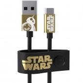 CAVO DATI-RICARICA USB MICRO-USB 120 CM STAR WARS THE LAST JEDI BB-8 GOLD MAIKII