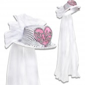 CILINDRO MINI CUORE BRIDE TO BE IN PAILLETTES CON VELO DA SPOSA WIDMANN