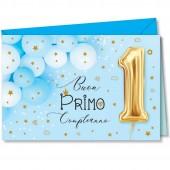BIGLIETTO AUGURALE 1° COMPLEANNO 11,5X17 CROMO