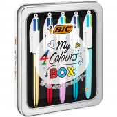 METAL BOX 5 PENNE SFERA 4 COLOURS MEDIUM BIC