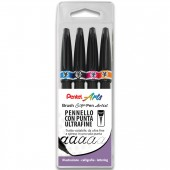 PENNARELLO CON VERA PUNTA PENNELLO COLORATA BRUSH SIGN PEN ARTIST FUNNEY SET 4 PZ. PENTEL