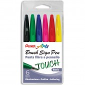 PENNARELLO PUNTA FLESSIBILE SIGN TOUCH BASIC SET 6 PZ. PENTEL