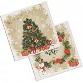 TOVAGLIOLI IN CARTA 33X33 2 VELI - 20 PZ. CHRISTMAS BOX BIBO
