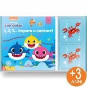 LIBRO GIOCO CARTONATO 13X13 CON GIOCO DI ASSOCIAZIONE MINILOGIC BABY SHARK 1,2,3… IMPARO A CONTARE LISCIANI LIBRI