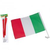 BANDIERA ITALIA PER AUTO CM. 45X30 ASTA CM.60