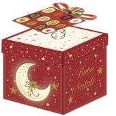 SCATOLA - BIGLIETTO AUGURALE NATALE 12X12X12 SURPRISE BOX KARTOS